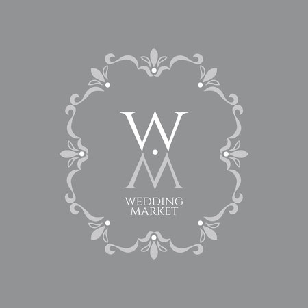 Elegant vintage emblem of the wedding market with a monogram of letters W and M in a decorative retro frame on a trendy neutral gray background. Illustration