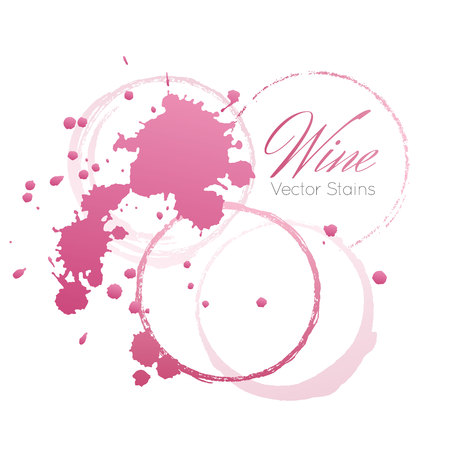 Red wine stains and blots from a glass isolated on white background.
