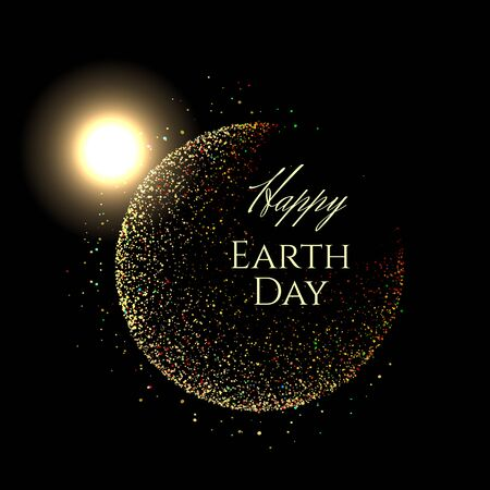 Gold shining scatter of spangles and shiny pollen in the sphere shape in the luxury style in space with glowing sun and text Happy Earth Day on a black background