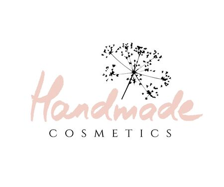 Retro badge logo for Handmade Cosmetics with a pink sprig of plant isolated on white background Ilustracja