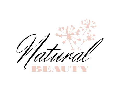 Retro badge logo for Natural Beauty with a pink sprig of plant isolated on white background Ilustracja