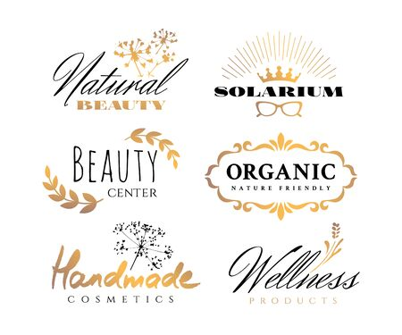 Black and gold vintage decorative badges set isolated on the white background. Design graphic retro elements for natural cosmetics, health and beauty products Ilustracja