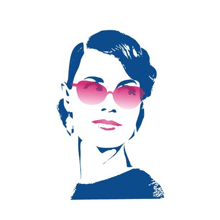 Female portrait isolated on white background. Beautiful girl in pink yarrow sunglasses with styling in retro style. Vector graphic poster.