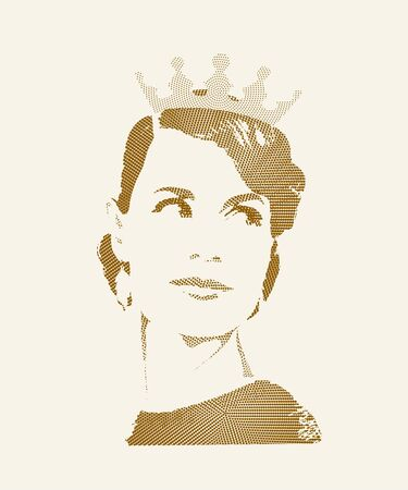 Female portrait. Beautiful queen in the crown with styling in retro style. Vector halftone  illustration.