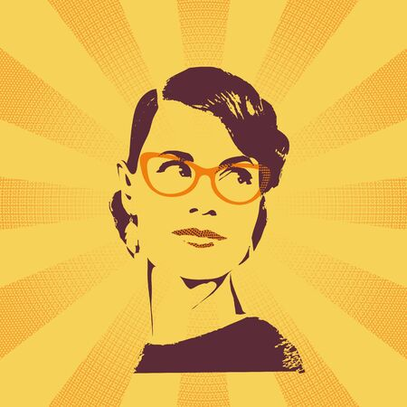 Female summer portrait on bright  yellow sunburst halftone background. Beautiful girl in sunglasses with styling in retro style. Vector graphic poster.