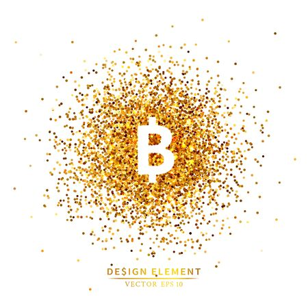 Placer gold bright sparkles glittering confetti or coins in the bitcoin sign shape on a white background