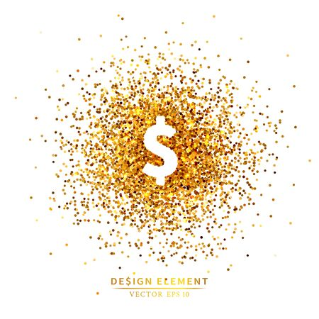Placer gold bright sparkles glittering confetti or coins in the dollar sign shape on a white background