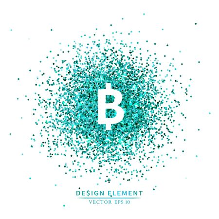 Placer blue bright sparkles glittering confetti or coins in the bitcoin sign shape on a white background Ilustração