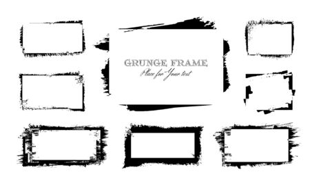 Set of 8 black ink brush strokes frames rectangular shapes isolated on white background for decor of banners, inscriptions, logos and art products in grunge design Ilustracja