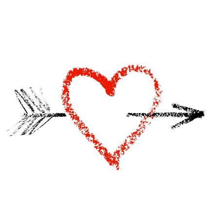 Bright red chalk or lipstick heart with black coal arrow isolated on a white background Foto de archivo - 132212687