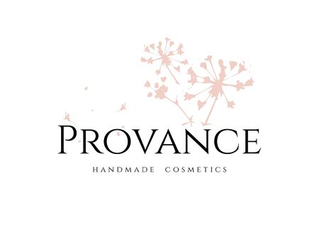 Elegant tender Provance Handmade Cosmetics logo for branding design beauty products in a craft style with a pink sprig of plant isolated on white background