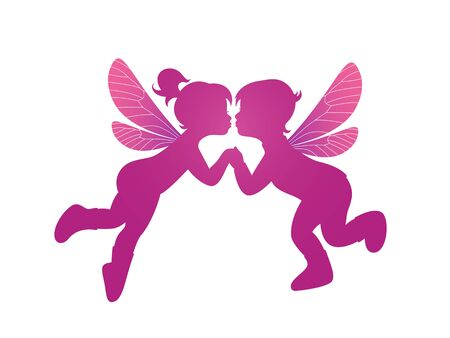 Pink silhouette two kissing elves - boy and girl isolated on white background for wedding or Valentine's Day design Foto de archivo - 132212780