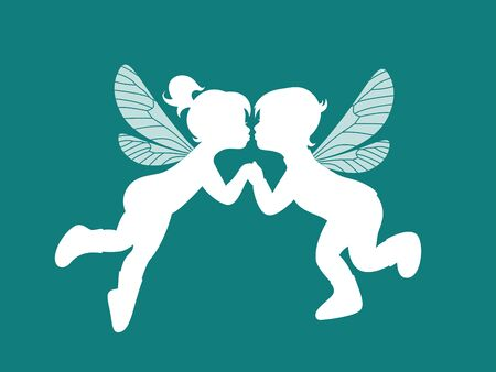 White silhouette two kissing elves - boy and girl isolated on blue background for wedding or Valentines Day design