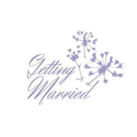Elegant tender Getting Married logo for wedding design with a sprig of plant isolated on white background Ilustracja