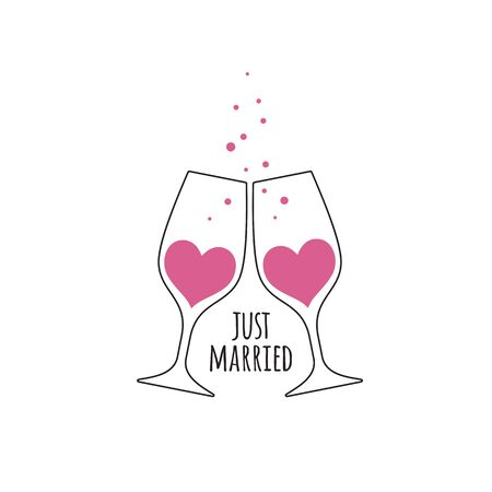 Two glasses with pink champagne wine in the shape of a heart, with bubbles and an inscription Just Married for wedding design card and invitation isolated on white background Çizim