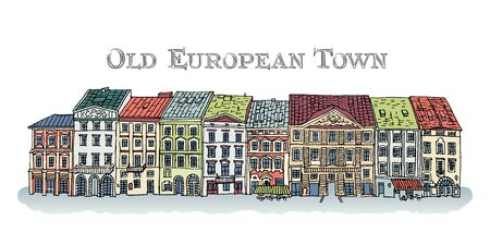 Old Town, Lviv, Rynok Square. Facades of the European city. Cute colored houses. Bright vector illustration. Ilustração