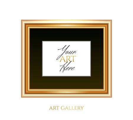 Gold horizontal frame with black passepartout and an empty place for your art