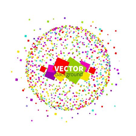 Abstract colorful varicoloured scatter of square sequins in the sphere shape on a white background