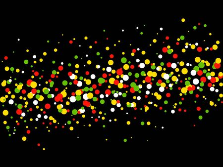 Horizontal abstract background with colorful splash circle polka dots for website graphics on a black backdrop