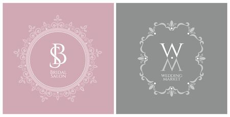 Two elegant vintage emblem of the Bridal Salon and Wedding Market with a monograms in a decorative retro frame on a trendy colors background 일러스트