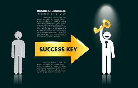 Business journal  illustration with icon of man holds golden success key under the light of the soffit on a black background
