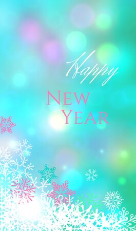 Blue vertical image card with white and pink snowflakes, bokeh effect and text Happy New Year 일러스트