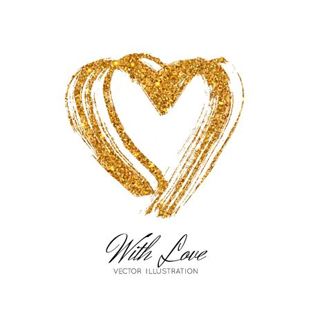 A bright golden sparkle imprint of the lipstick heard. Vector illustration isolated on white background. Valentines Day element