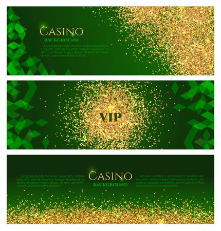 Collection of three abstract banners with a scattering of bright sparkling sequins glittering confetti or coins on a dark green background for web design online casino