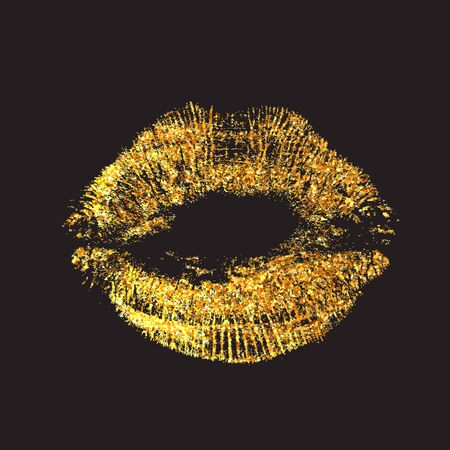 A bright golden imprint of the lips. Vector image of a kiss isolated on black background. Valentines Day element Иллюстрация