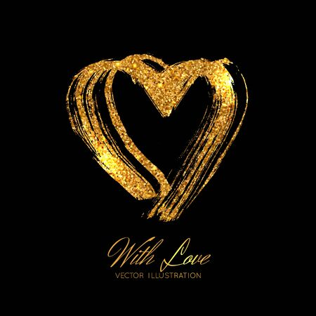 A bright golden sparkle brush stroke heard. Vector illustration isolated on black background. Valentine's Day element
