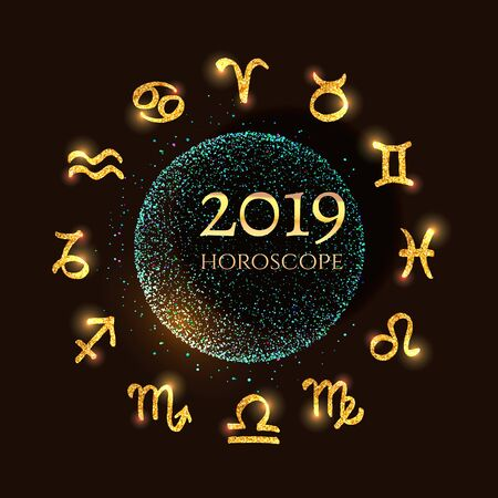 Bright golden zodiac signs around blue shining scatter of spangles and shiny pollen in the sphere shape luxury style in space and text 2019 on a black background for New Year horoscope