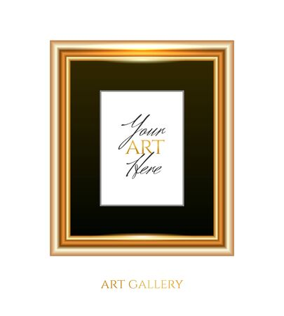 Gold frame with black passepartout and an empty place for your art, photo or logo isolated on white background Illustration