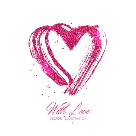 A bright pink metallic sparkle brush stroke heard. Vector illustration isolated on white background. Valentine's Day element