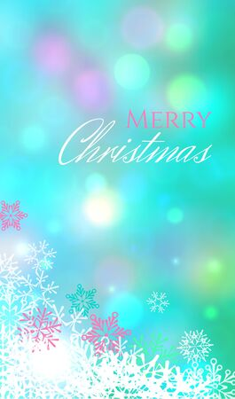 Blue vertical image card with white and pink snowflakes, bokeh effect and text Merry Christmas