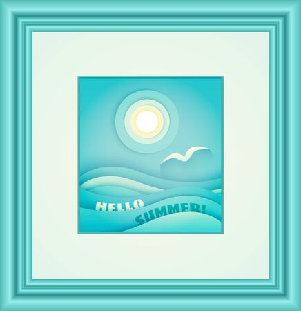 Papercut vector illustration of a sun, gull and blue sea waves in the blue frame