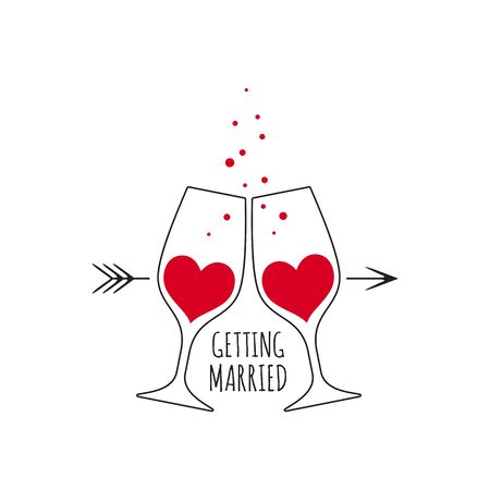 Two glasses with red wine in the shape of a heart, with bubbles and an inscription Getting Married for wedding design card and invitation