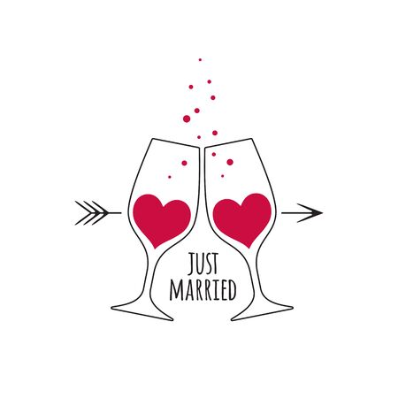 Two glasses with red champagne wine in the shape of a heart, with bubbles, arrow  and an inscription Just Married for wedding design card and invitation isolated on white background