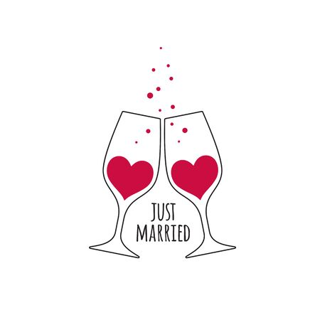 Two glasses with red champagne wine in the shape of a heart, with bubbles and an inscription Just Married for wedding design card and invitation isolated on white background