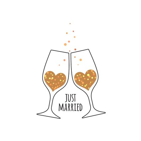 Two glasses with champagne wine in the shape of a heart, with glittering bubbles and an inscription Just Married for wedding design card and invitation isolated  isolated on white background