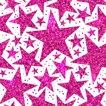 Holiday bright seamless pattern of pink shiny sparkles and sequins in the form of stars on a white background in disco style for New year