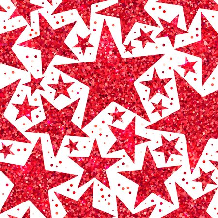 Holiday bright seamless pattern of red shiny sparkles and sequins in the form of stars on a white background in disco style for New year