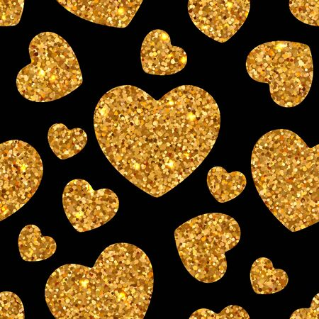 Holiday bright seamless pattern of shiny gold sparkles and sequins in the form of hearts on a black background in disco style for Valentine's Day