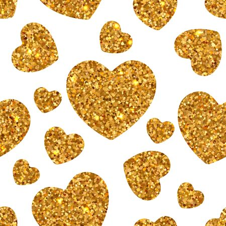 Holiday bright seamless pattern of shiny gold sparkles and sequins in the form of hearts on a white background in disco style for Valentine's Day 일러스트
