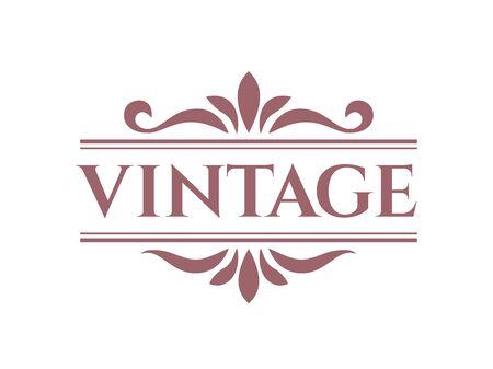 Distintivo retrò vintage color vino in una cornice ornamentale con foglie e linee isolate sullo sfondo bianco