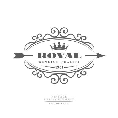 Distintivo retrò vintage scuro Royal in una cornice ornamentale con corona e freccia isolato su sfondo bianco. Qualità genuina. Vettoriali