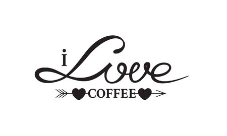 I Love Coffee lettering vintage badge with arrow and two heards for cup design
