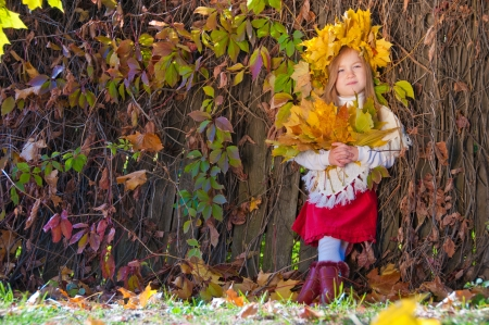 Cute smiling girl in a wreath of  yellow leaves on the head and with a bouquet of maple leaves in the hands photo
