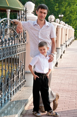 Dad and son are in full growth  Family portrait Stock Photo - 12884131