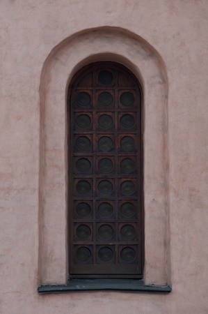 The window of an ancient cathedral  The architecture of ancient Kiev  photo