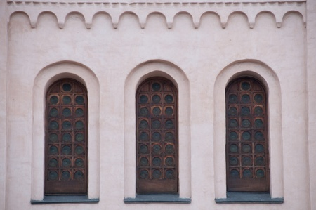 The windows of the ancient cathedral  The architecture of ancient Kiev  photo